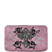 Rhinestone Cross Barb Wire Roses Embroidery Pale Pink Western Flat Wallet