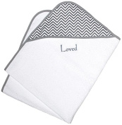 Raindrops Loved Hooded Towel Set, Silver Kiss Chevron