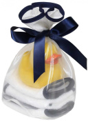 Raindrops Loved 5-Piece Wash Cloth and Rubber Ducky Set, Blueberry, Navy Blue