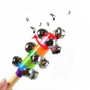 Man Friday Baby Rainbow Crib Handle Wooden Bell Stick Shaker Rattle Toy