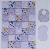 Sesame Street Big Bird, Cookie Monster and Elmo Characters with Coordinating Lavender Accent Fabrics Baby Rag Quilt with Matching Burp Cloth and Bib