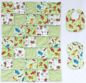 Sesame Street Elmo and Friends with Coordinating Green Accent Fabrics Baby Rag Quilt with Matching Burp Cloth and Bib