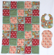 Little Forest Animals Print with Grey, Red and Plaid Accent Fabrics Baby Rag Quilt with Matching Burp Cloth and Bib