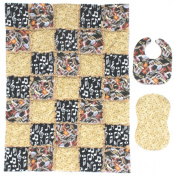 Musical Instrument Print with Gold and Black Musical Note Prints Baby Rag Quilt with Matching Burp Cloth and Bib