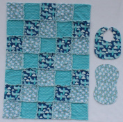 Happy Aeroplanes and Stars with Blue, Yellow and White Accent Fabrics Baby Rag Quilt with Matching Burp Cloth and Bib