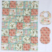 Cute Forest Babies with Coordinating Accent Fabrics Baby Rag Quilt with Matching Burp Cloth and Bib