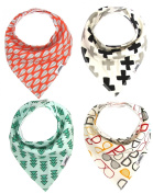 Matimati Baby Bandana Drool Bibs with Snaps, 4-Pack Absorbent Cotton for Boys & Girls, Unisex Baby Gift