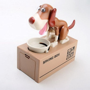 Smrroy Choken Puppy Hungry Eating Dog Coin Bank Money Saving Box Piggy Bank