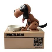 Smrroy Choken Puppy Hungry Eating Dog Coin Bank Money Saving Box Piggy Bank