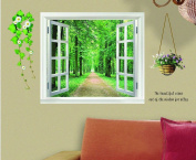 3D Huge Green View Plant Flowers Window Wall Stickers Art Mural Decal Wallpaper