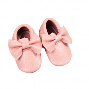 Peach Bow Leather Baby Moccasins for Boy Girl Infant Toddler Pre-walker Crib Shoe (12-18 Month