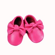 Pink Bow Leather Baby Moccasins for Boy Girl Infant Toddler Pre-walker Crib Shoe (6-12 Month