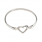 Genuine Sterling Silver Heart Baby Bangle Bracelet for