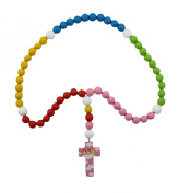 15mm Wood Bead First Rosary - with Pink Cross with Angels