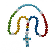 15mm Wood Bead First Rosary - with Blue Cross with Angels