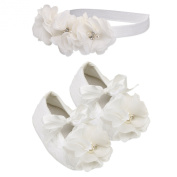 """Petals Collection"" Ivory Lace Baptism Christening Shoe and Headband Set for Baby Girl"