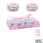 Mainstreet First Tooth and Curl Keepsake Set Baby Girl Pink