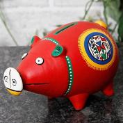 Unravel India Teracotta Red Warli Handpainted Piggy Bank