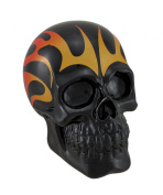 Yellow and Orange Tribal Flames Black Skull Coin Bank