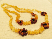 17 AND 32cm Baltic Amber Teething Necklaces for (Baby & Toddler) PLUS one for mom! adult - Raw Unpolished Lemon with Cognac Flower Flowers Yellow Brown Cherry Cognac Anti-inflammatory, Drooling & Teething Pain Reduce Properties - Growing Pains. In ..