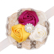 Lowpricenice (TM)Lovely Baby Girls Hair Band Rose Pearl Diamond Lace Baby Headband