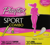 Playtex Sport Combo Pack Tampons and Liners, Regular/Super, 48 Count