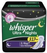 2 X Whisper Ultra Night XL Wings Sanitary Pad
