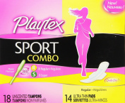 Playtex Sport Combo Pack Tampons and Pads, Regular/Super, 32 Count
