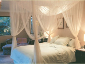 Full Queen King Size Netting 4 Corner Post Bed Canopy Mosquito Net White