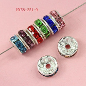 100 Pcs Crystal Rondelle Spacer Bead Silver Plated 8mm