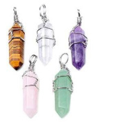 Winglife 5pcs Natural Amethyst+ Rose Quartz + Tiger Eye+ Green Aventurine + Rock Crystal Healing Point Chakra Pendants for Necklace Jewellery Making
