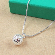 Topstaronline (TM) Plating 925 Silver Plated Heart Shaped Hollow Ball Pendant Necklace
