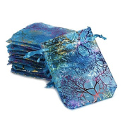 100pcs Coralline Blue Organza Jewellery Pouch Wedding Party Favour Gift Bags 8.9cm x 12cm