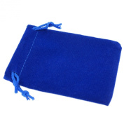 Pack of 12 Blue Colour Soft Velvet Pouches w Drawstrings for Jewellery Gift Packaging, 7x9cm