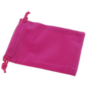 Pack of 12 Fuchsia Colour Soft Velvet Pouches w Drawstrings for Jewellery Gift Packaging, 7x9cm