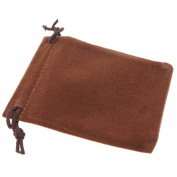 Pack of 12 Brown Colour Soft Velvet Pouches w Drawstrings for Jewellery Gift Packaging, 7x9cm