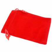 Pack of 12 Red Colour Soft Velvet Pouches w Drawstrings for Jewellery Gift Packaging, 7x9cm