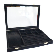 Black Velvet Glass Top Jewellery Display 3in1 Multi-purpose Storage Showcase Box