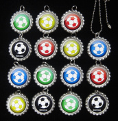 15 SOCCER BALLS Flat Bottle Cap Necklaces for Birthday, Party Favour Set 1