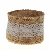 Generic 10 Yards Natural Hessian Burlap with Lace Ribbon 5.1cm Wide