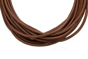 Full-grain leather cord, 2mm round dark brown 5 yard