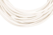 Full-grain leather cord, 2mm round white 5 yard
