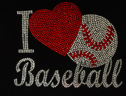 I love Baseball Red Heart Rhinestone Transfer Iron On Hot Fix Motif Bling Applique - DIY