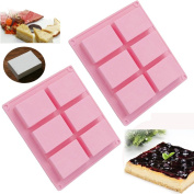 ★Set of 2★ ANFIMU 6-cavity Plain Basic Rectangle Soap Mould Silicone Mould for Homemade Craft