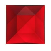 Stained Glass Jewels - 30mm Square Faceted - Red