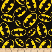 Batman Tossed Emblems Black Fabric