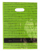 "9 x 12 Lime ""Thank You"" Die Cut Handle Plastic Bags 50/cs"
