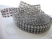 Silver Diamond Mesh Wrap Roll Rhinestone Crystal Ribbon 1.3cm X 5 Yards 3-row