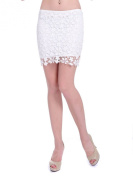 Anna-Kaci S/M Fit White Loose Knit Floral Pattern Crochet Lace Net Overlay Skirt