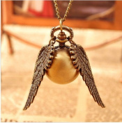 Vintage Bronze Harry Potter Necklace Golden Snitch Charm with Wings Pocket Watch Best Chosen Gift